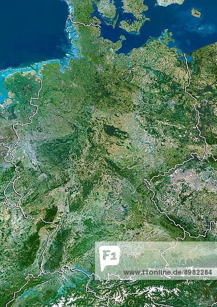 Satellite view of Germany with border. This image was compiled from data acquired by LANDSAT 5 & 7 satellites.