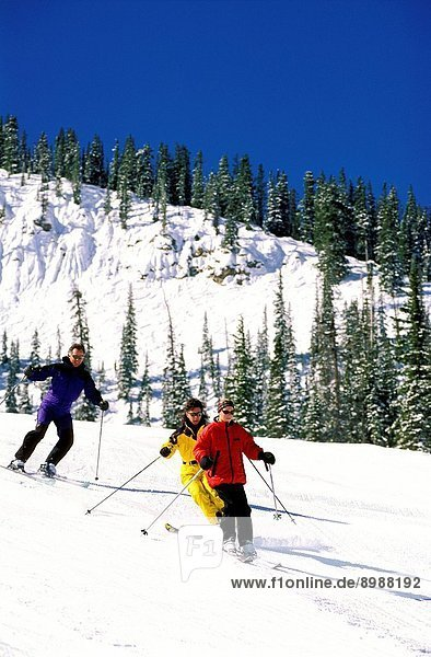 Colorado  Crested Butte: A Man And Two Women Skiing