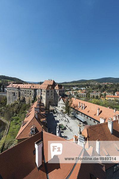 Schlosshof  Horní Hrad  UNESCO-Weltkulturerbe  ?eský Krumlov oder Böhmisch Krumau  Böhmen  Tschechien