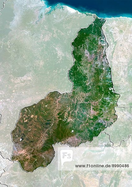 Satellite view of the State of Piaui  Brazil. This image was compiled from data acquired by LANDSAT 5 & 7 satellites.
