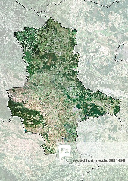 Satellite view of the State of Saxony_Anhalt,  Germany. This image was compiled from data acquired by LANDSAT 5 & 7 satellites.