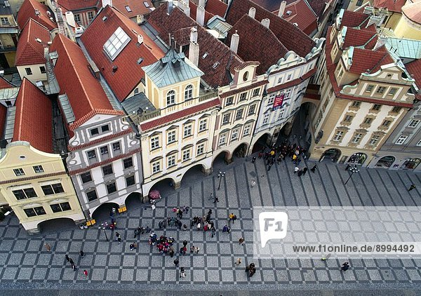 Croud gathers to watch the hour struck by the GOTHIC ASTRONOMICAL CLOCK 1410 at OLD TOWN HALL _ PRAGUE PRAHA