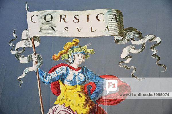 Wandmalerei mit Frauenfigur und Flagge mit der Aufschrift Corsica Insula  Corte  Korsika  Frankreich