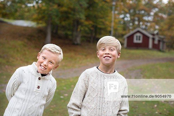 Two smiling boys  Karlskrona  Blekinge  Sweden
