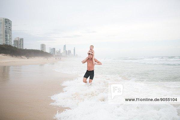 Strand Menschlicher Vater Nebel