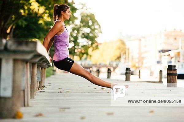 Young woman exercising  Uppsala  Sweden