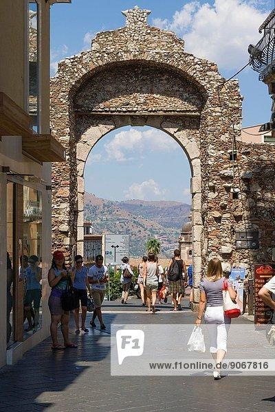 City gate  Corso Umberto  Taormina  Messina  Sicily  Italy.
