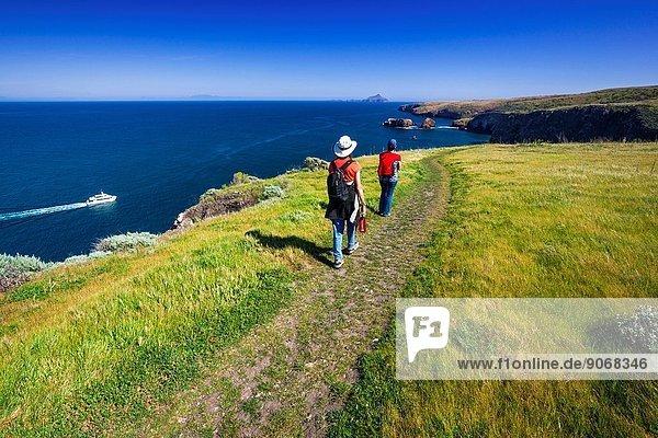Hiking at Scorpion Ranch  Santa Cruz Island  Channel Islands National Park  California USA.