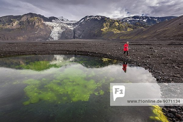 Woman walking by a pond with algae and ash  Iceland.