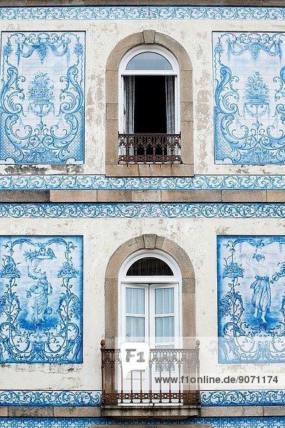 Ceramic tiled façade in Marques de Pombal Square  Aveiro  Baixo Vouga Subregion  Centro Region (Beira Province)  Portugal. Ceramic tiled façade in Marques de Pombal Square, Aveiro, Baixo Vouga Subregion, Centro Region (Beira Province), Portugal.