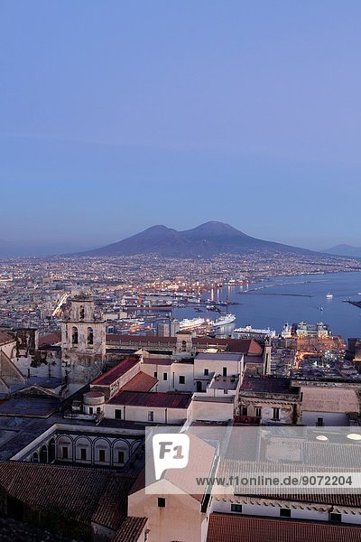 View of the Gulf of Naples and Mount Vesuvius in the distance  Naples  Italy.