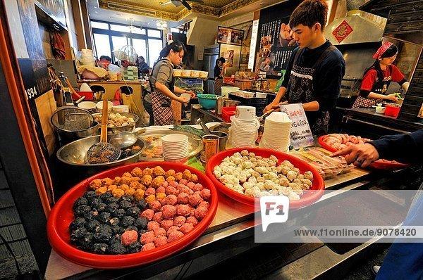 Food shop and restaurant in the main street. Taiwan (China)  New Taipei City  Ruifang  Jiufen (Chiufen).