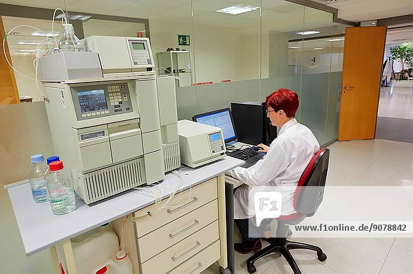 HPLC. High-performance liquid chromatography. High-pressure liquid chromatography. Technique in analytic chemistry used to separate the components in a mixture  to identify each component  and to quantify each component. It relies on pumps to pass a pressurized liquid solvent containing the sample mixture through a column filled with a solid adsorbent material. Each component in the sample interacts slightly differently with the adsorbent material  causing different flow rates for the different components and leading to the separation of the components as they flow out the column. Laboratory. Energy and Environment Division. Tecnalia Research and Innovation. Donostia. San Sebastian. Gipuzkoa. Basque Country. Spain. Europe.