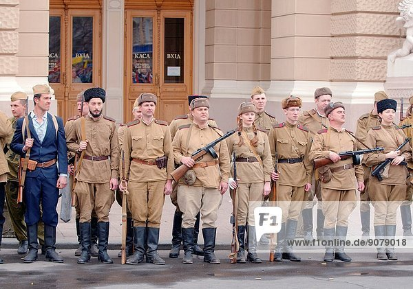 April 10  Odessa  Ukraine. Reconstruction parade April 10  1944  dedicated to the liberation of Odessa from the German fascist invaders.