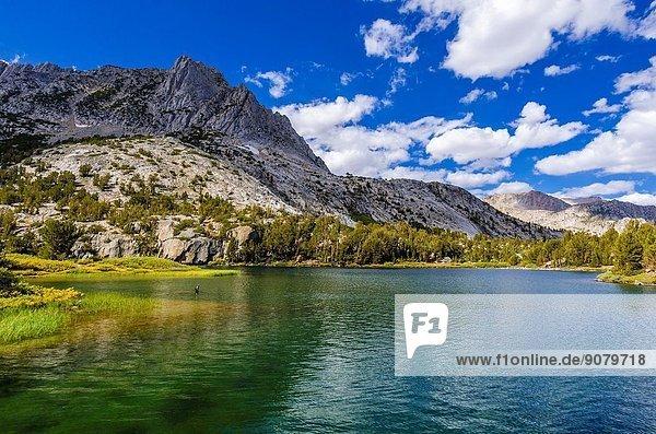 Long Lake on the Bishop Pass Trail  John Muir Wilderness  Sierra Nevada Mountains  California USA.