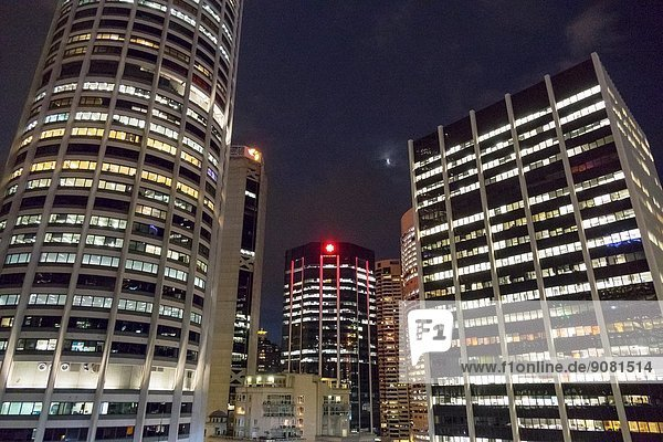 Australia  New South Wales  Sydney  Central Business District  View of night city skyline
