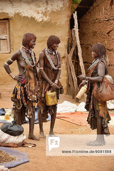 Hamer women in the Dimeka market in the Omo Valley  Ethiopia.