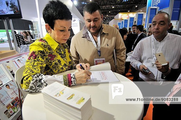 Carme Ruscalleda i Serra renowned Catalan chef of the restaurant Sant Pau in Sant Pol de Mar  near Barcelona. She also owns and manages the restaurant Sant Pau de Tòquio in Japan. Signing books. Alimentaria  International Food and Drinks Exhibition  Fira