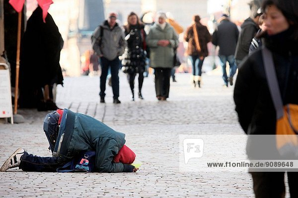 Homeless in the street  Czech Republic