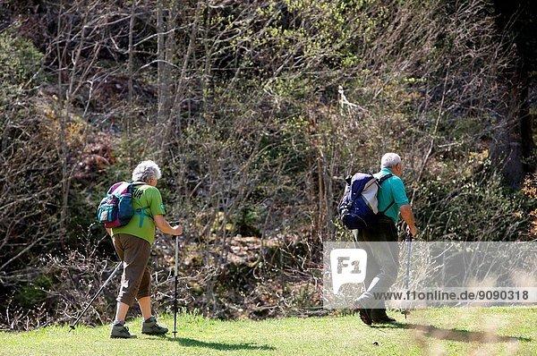 Elderly couple hiking  France