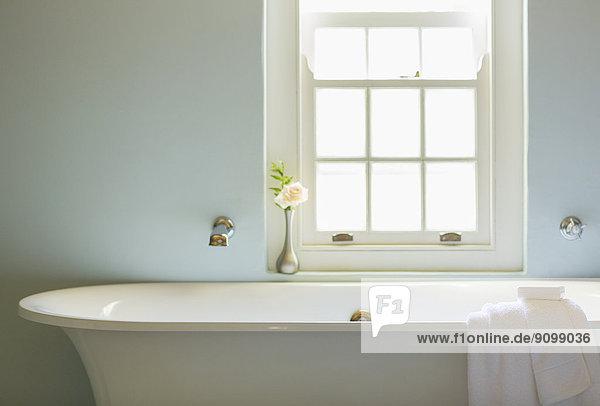 Badewanne unter dem Fenster im Luxusbad