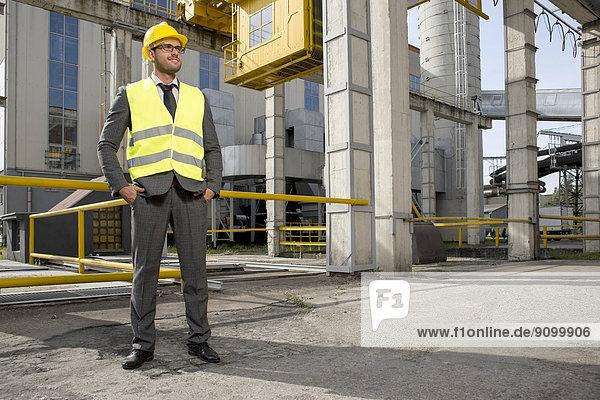 Maultasche  Außenaufnahme  stehend  Industrie  Ingenieur  jung  Länge  voll