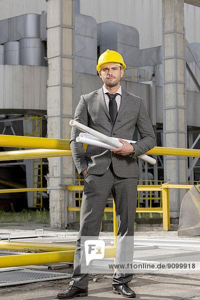 hoch  oben  Außenaufnahme  rollen  Portrait  Geschäftsmann  Industrie  halten  Blaupause  jung  Hoffnung