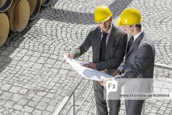 hoch  oben  Architekt  Blaupause  Ansicht  jung  Flachwinkelansicht  Geländer  Winkel  Untersuchung