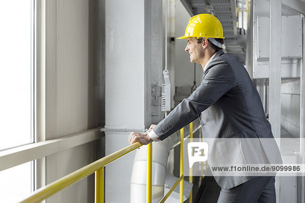 angelehnt  lächeln  Industrie  Architekt  Ansicht  Geländer  Seitenansicht