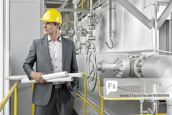 hoch  oben  rollen  Industrie  halten  Maschine  Architekt  Blaupause  jung