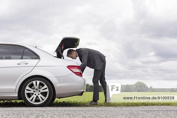 sehen  Geschäftsmann  Ländliches Motiv  ländliche Motive  Auto  Kofferraum  Ansicht  jung  Länge  Seitenansicht  voll