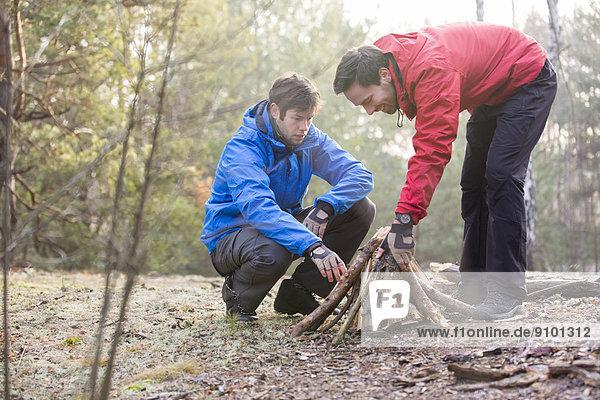 Feuerholz Wald arrangieren wandern