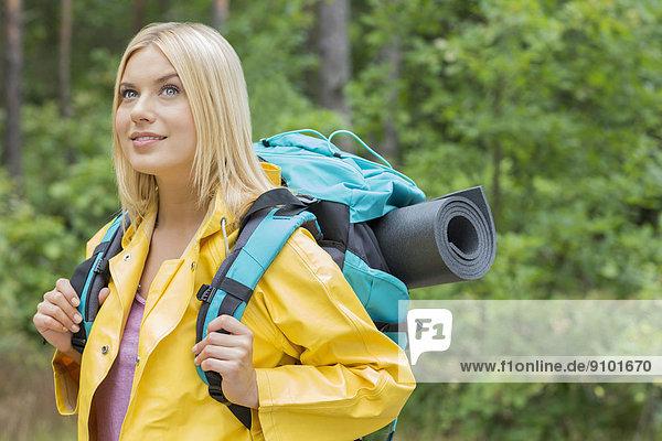 Regenmantel  sehen  lächeln  Wald  Rucksackurlaub  wegsehen  Reise