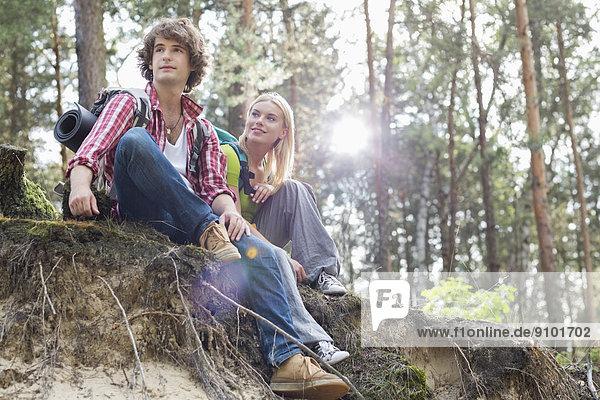 sitzend  Ecke  Ecken  Steilküste  Wald  wandern  jung