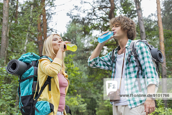 Energie  energiegeladen  Wald  wandern  Getränk  jung  trinken