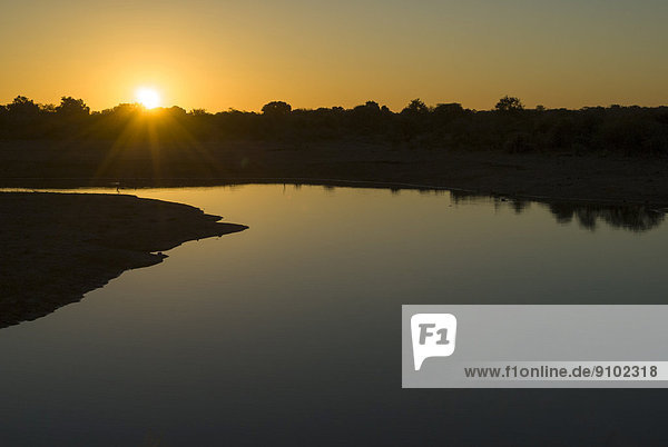 Sonnenuntergang  Fluss  Krüger-Nationalpark  Südafrika