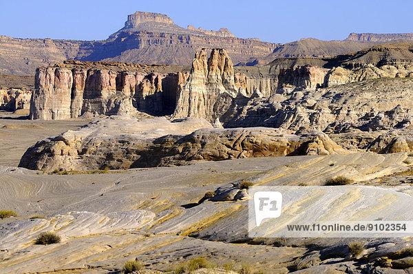 Rundgeschliffene Sandsteinformationen und Felstürme  White Rocks  Grand Staircase Escalante National Monument  Utah  USA