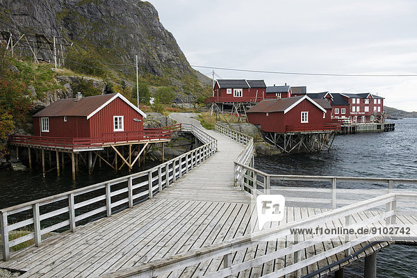 Wooden houses in the village of Å or Å i Lofoten  Moskenesøy  Lofoten  Norway