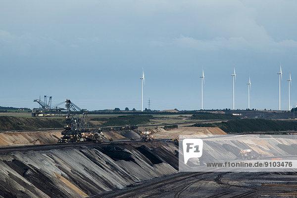 Wind farm and open-cast lignite mining  Jüchen lookout point  Garzweiler open-cast mine  Jüchen  North Rhine-Westphalia  Germany