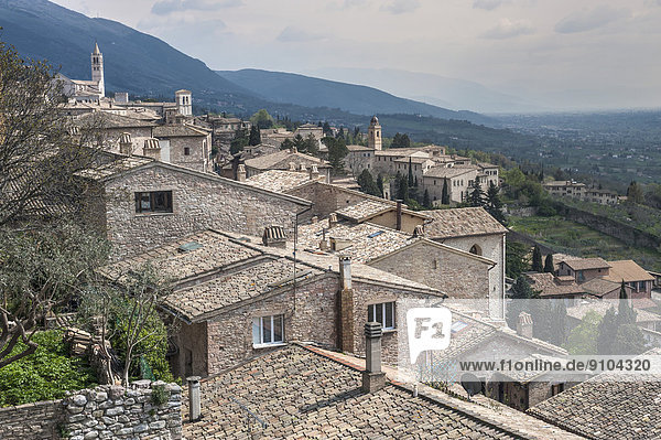 Residential houses and churches  traditional architecture  Assisi  Umbria  Italy