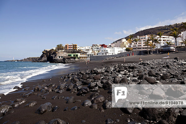 Beach with black sand and the village of Puerto Naos  La Palma  Canary Islands  Spain