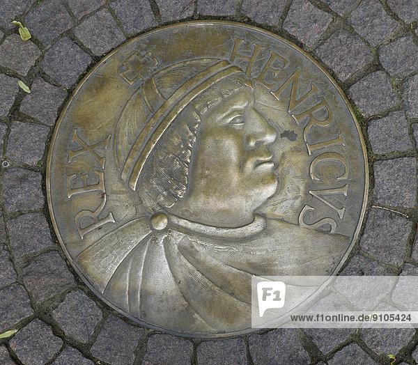 Reliefplatte Heinrich I. am Heinrichsplatz  Meißen  Sachsen  Deutschland