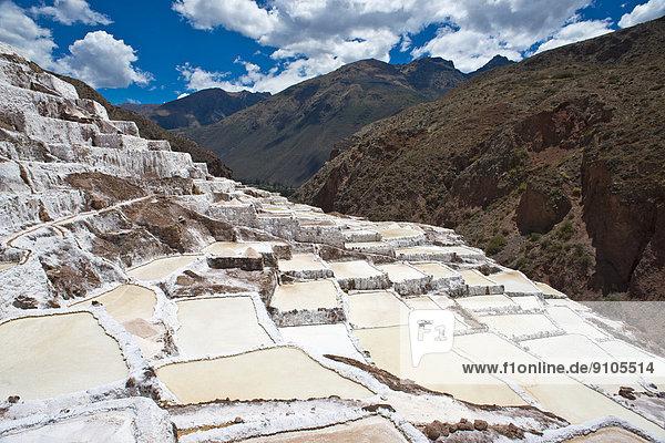 Salzterrassen an einem Berghang  Salzterrassen von Maras oder Salinas de Maras  angelegt von den Inka und noch heute in Betrieb  Pichingote  Region Cusco  Anden  Peru
