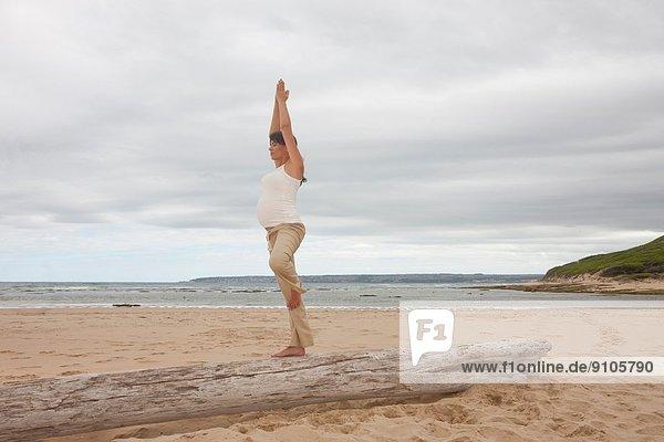 Schwangere mittlere erwachsene Frau beim Yoga am Baumstamm am Strand
