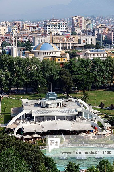 Albania  Tirana  elevated overview of Rinia Park and Taiwan Restaurant complex and Regency Casino.