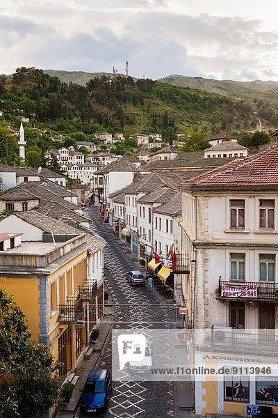 Gebäude Straße Ansicht Erhöhte Ansicht Aufsicht heben Albanien Ottomane