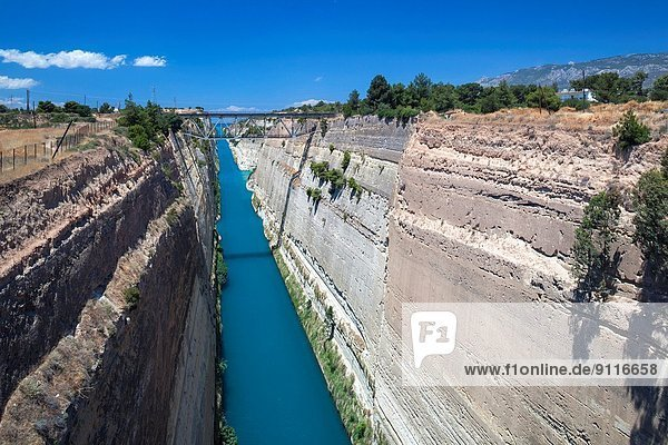Greece  Peloponese Region  Corinth  elevated view of the Corinth Canal.