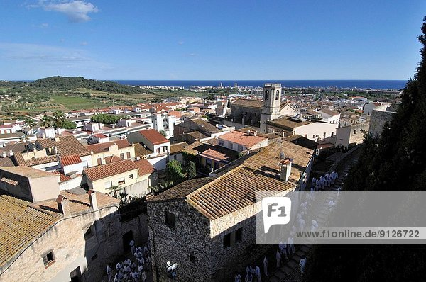 Calafell town. General view from Calafell castle. Located at the heart of the Baix Penedès region  the gateway to the Costa Daurada. Tarragona. Catalonia. Spain.