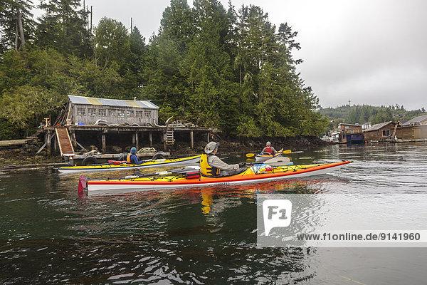 Forschung Küste Insel Kajakfahrer 3 Tofino British Columbia British Columbia Kanada Vancouver