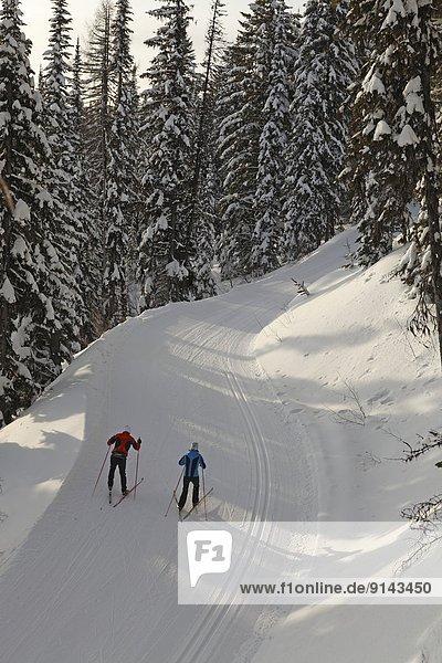 überqueren  See  Skisport  Norden  British Columbia  Kanada  Kreuz
